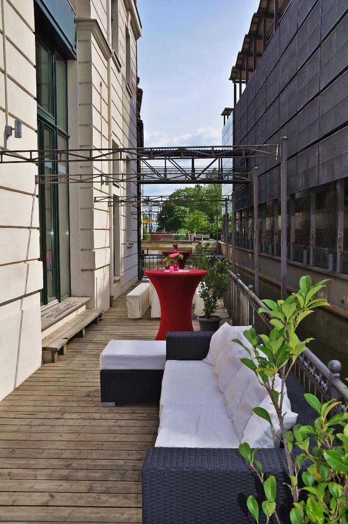 Terrasse direkt an der Pleiße